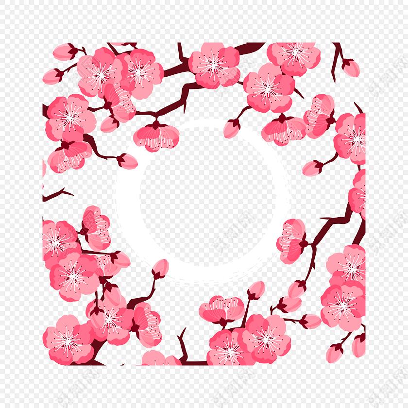 粉色樱花边框素材