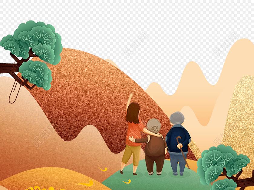 扁平化风格山峰登山重阳节海报图片素材免费下载_觅