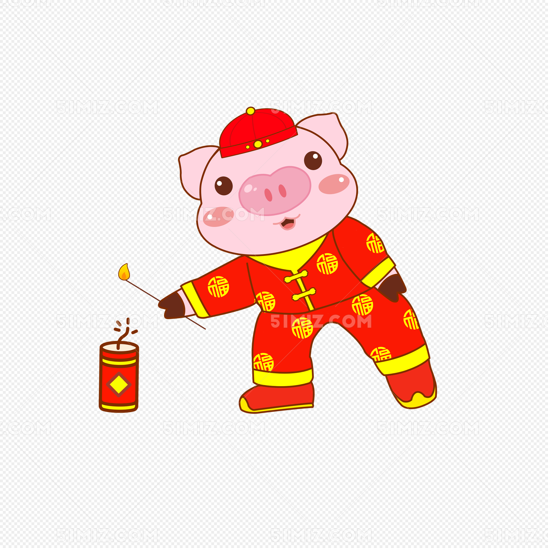 2019手绘卡通放鞭炮猪年形象