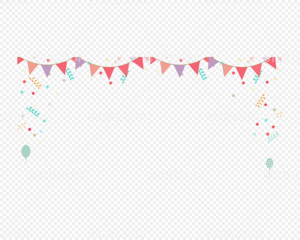 4月1愚人节彩旗与彩带装饰边框