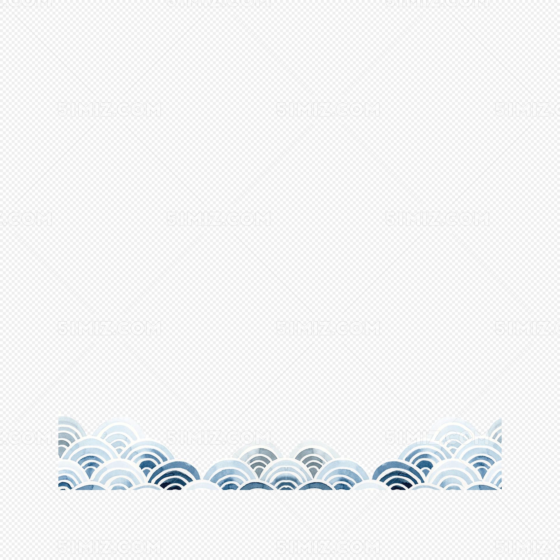 简单手绘中国风海浪素材