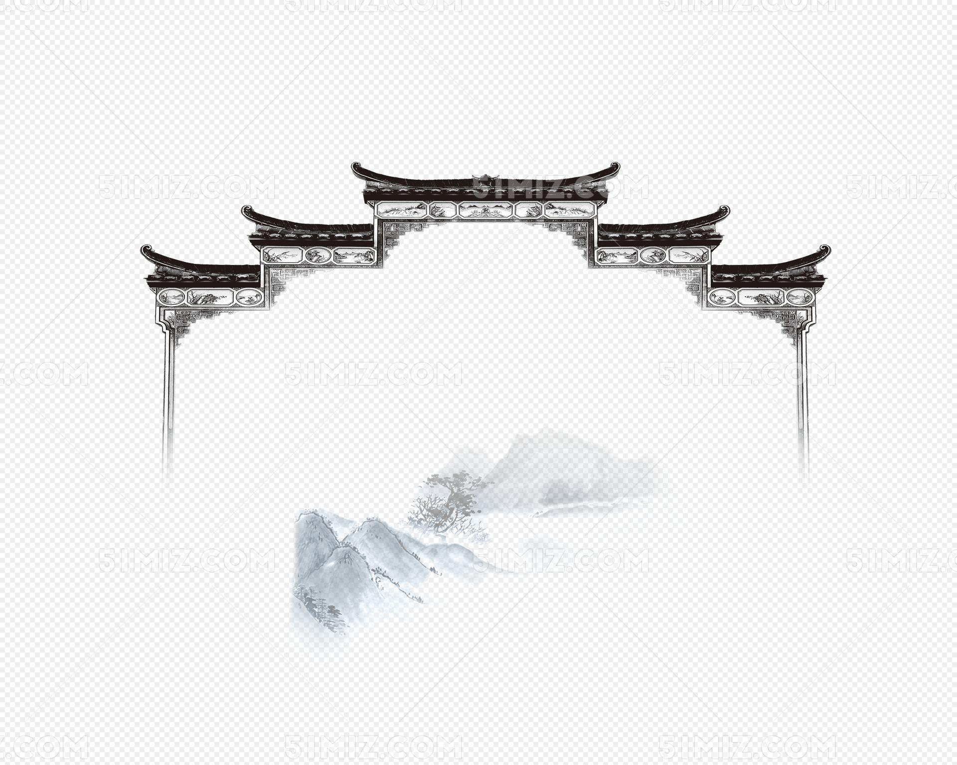 复古中国风城楼屋檐图片素材免费下载_觅知网