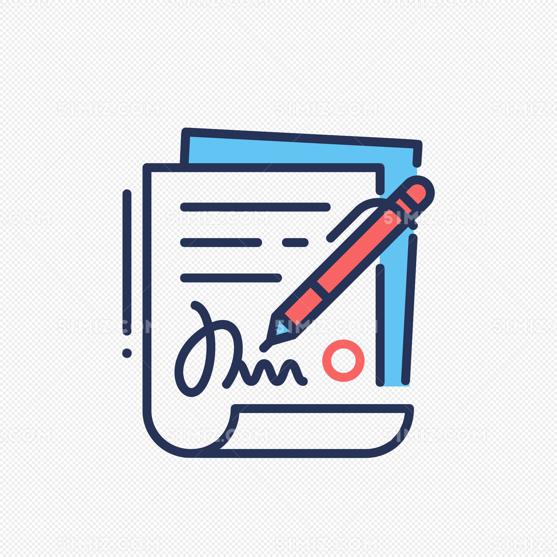 写字的纸笔矢量图免费下载