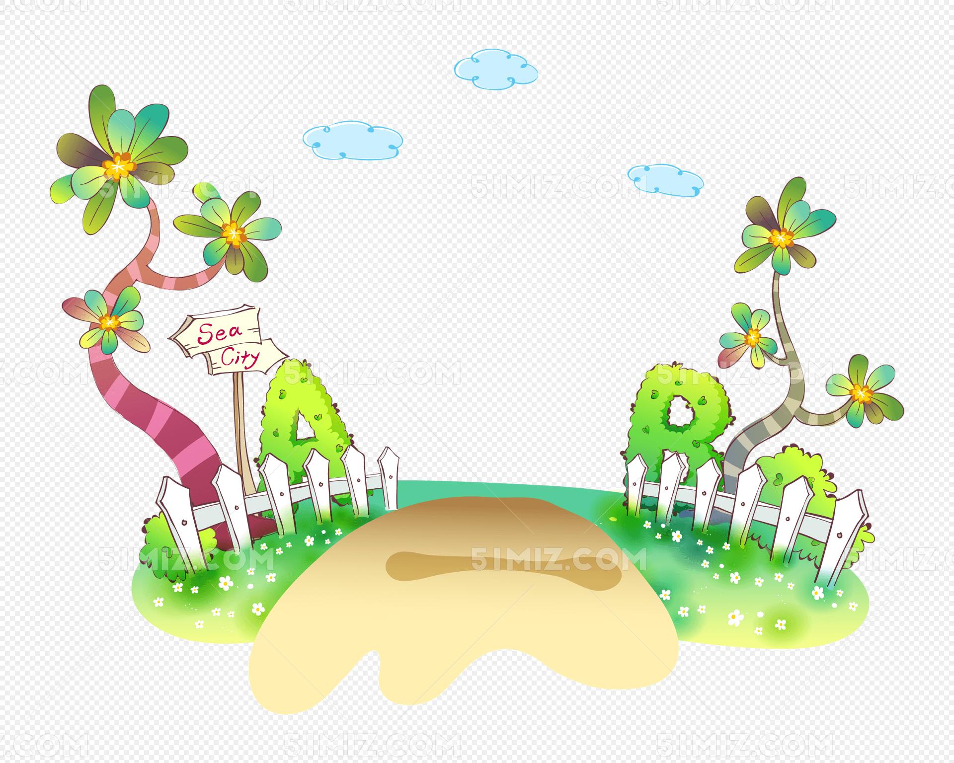 卡通花园矢量图