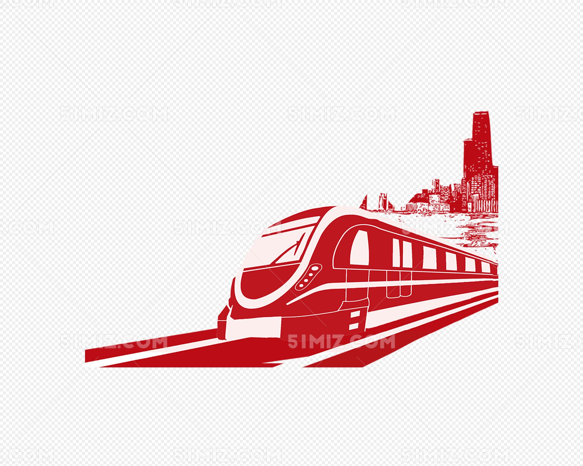 红色手绘卡通火车高铁图片素材免费下载_觅知网