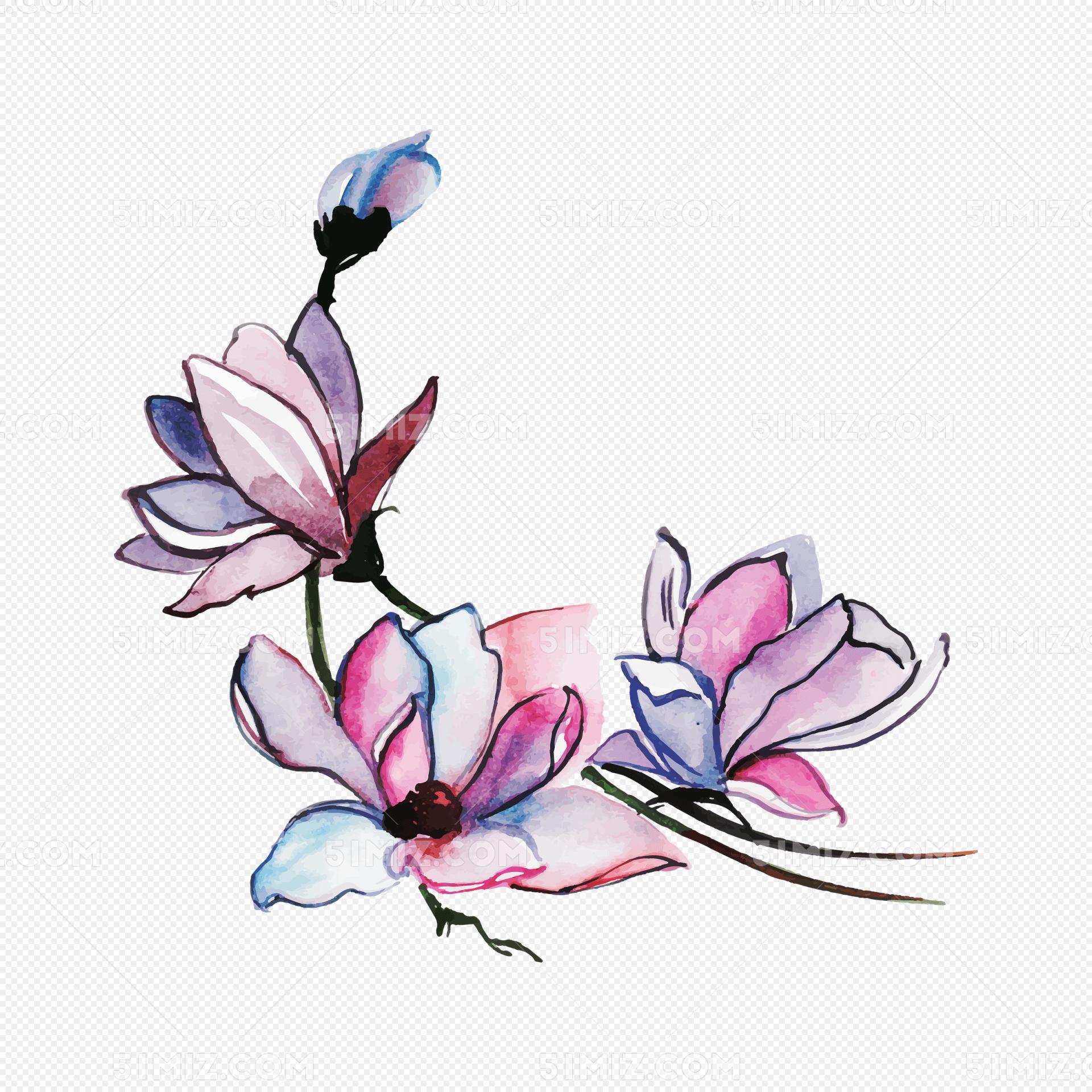 浪漫手绘粉紫色玉兰花免费下载_png素材_觅知网
