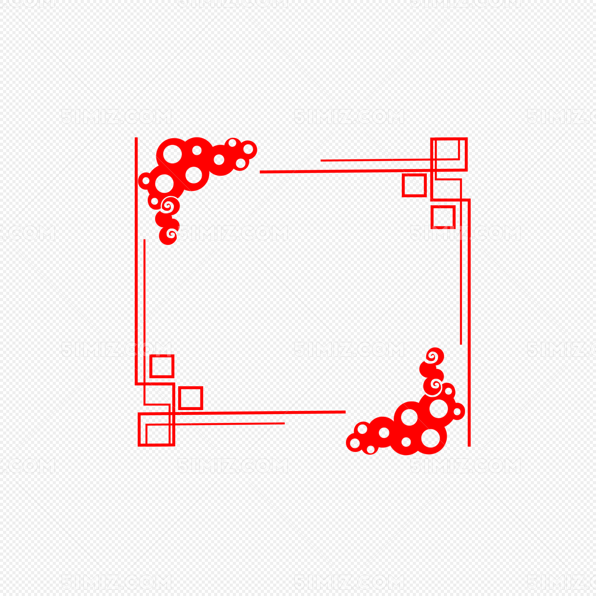红色古风边框手绘插画