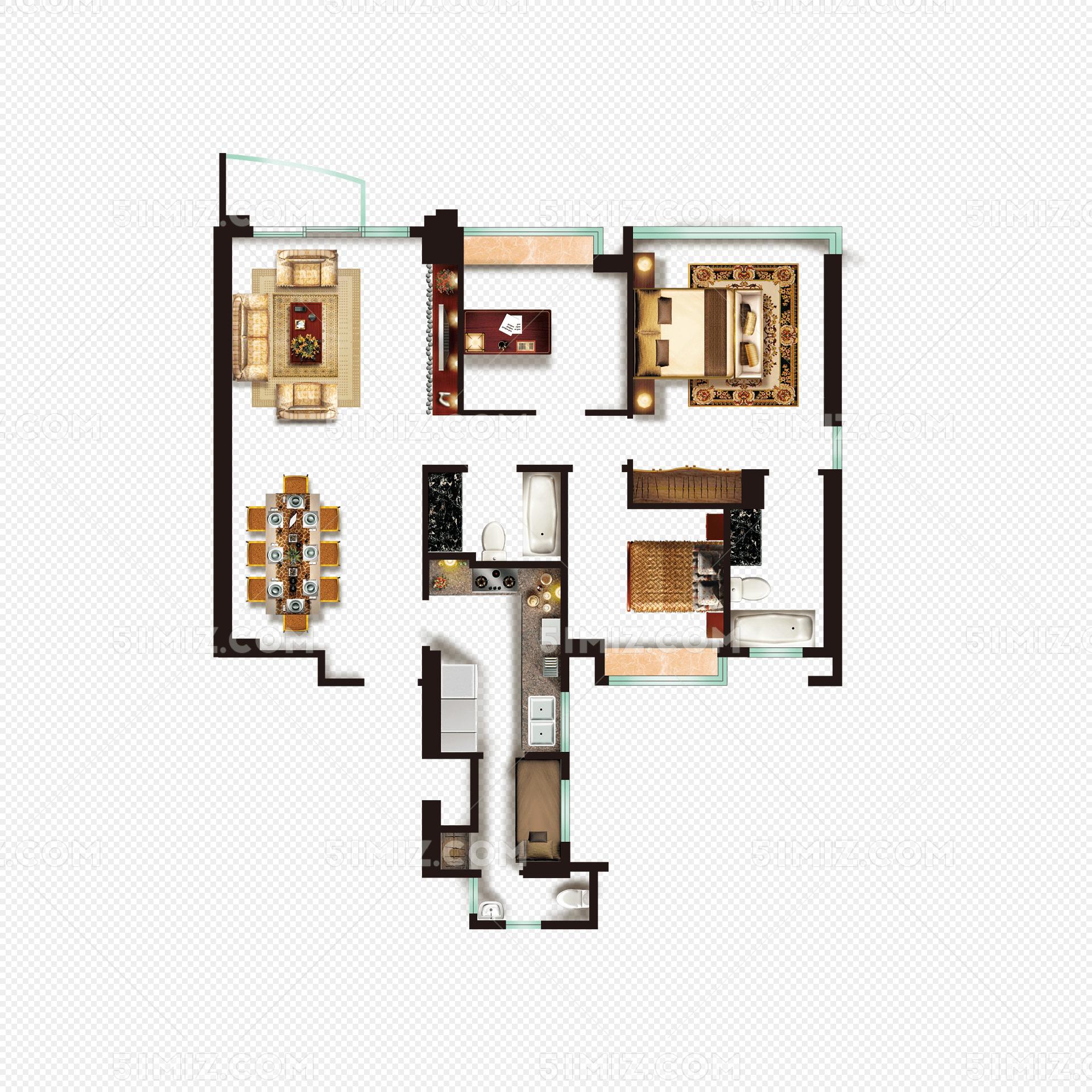 彩平图 户型图家具免费下载_png素材_觅知网