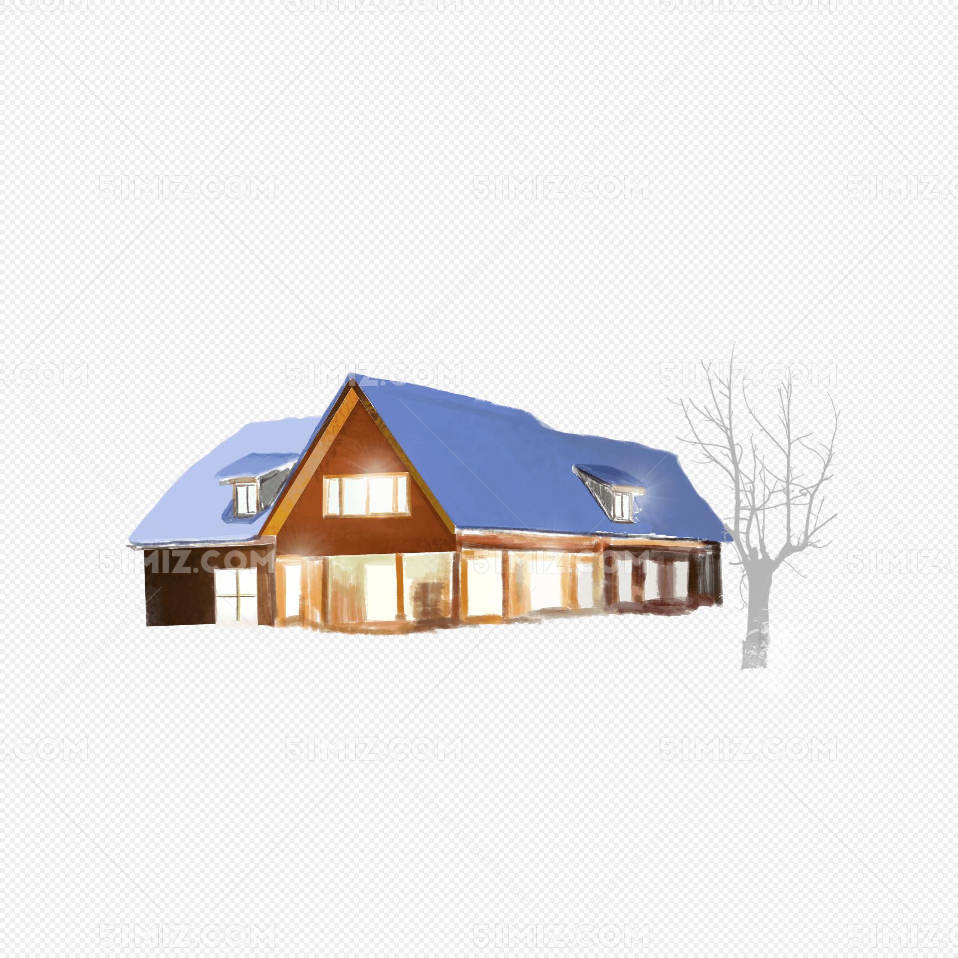 手绘雪景室外房子png装饰图