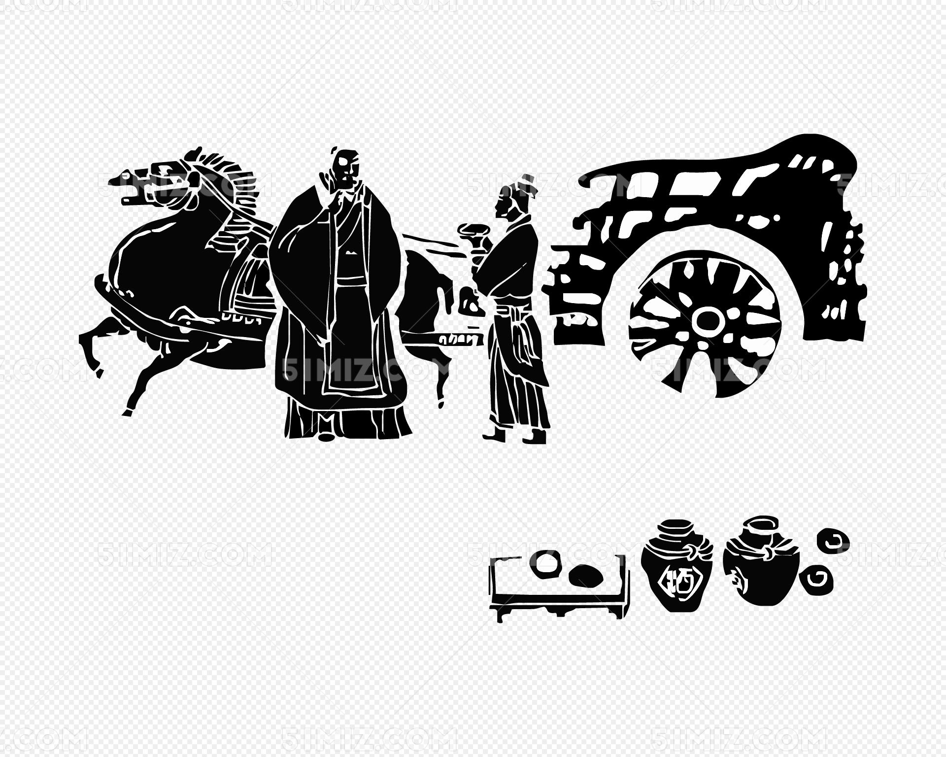 古代人物马车矢量 尊师重道图片素材免费下载_觅知网
