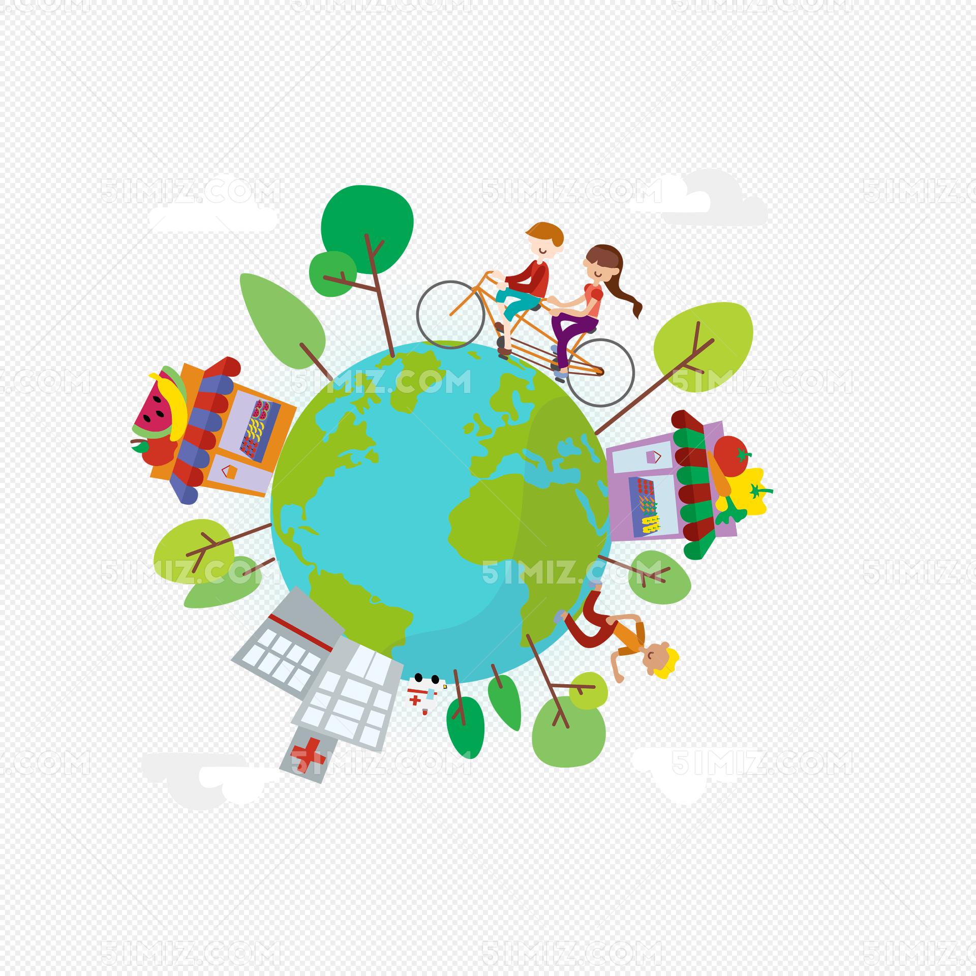 下载png下载ai png素材 手绘环保地球日矢量图标签:骑自行车的人 保护