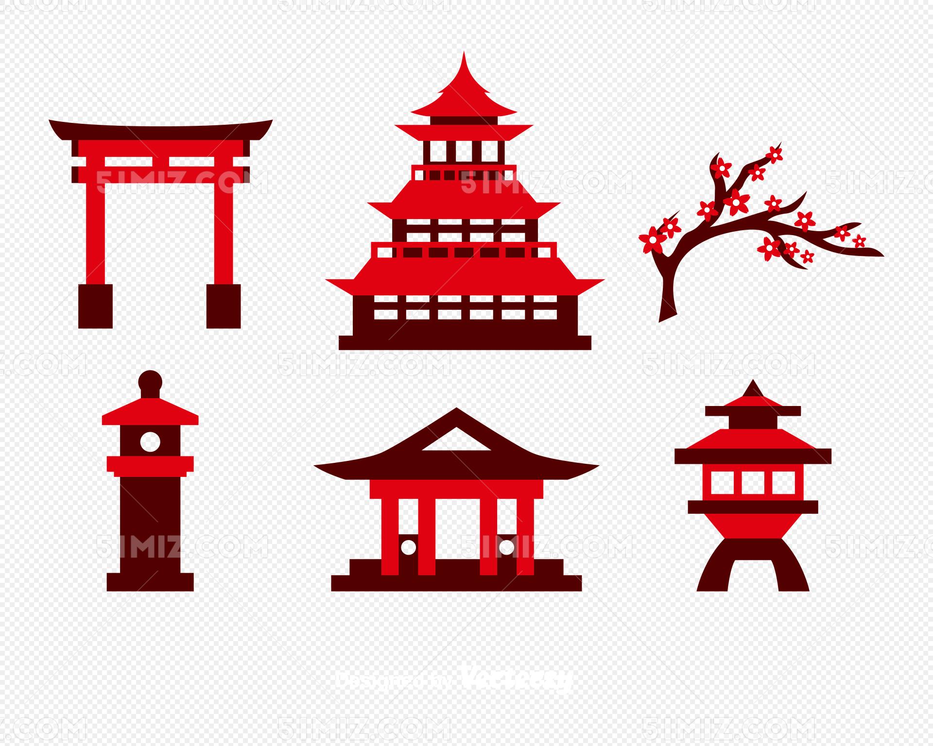 红色寺庙建筑矢量