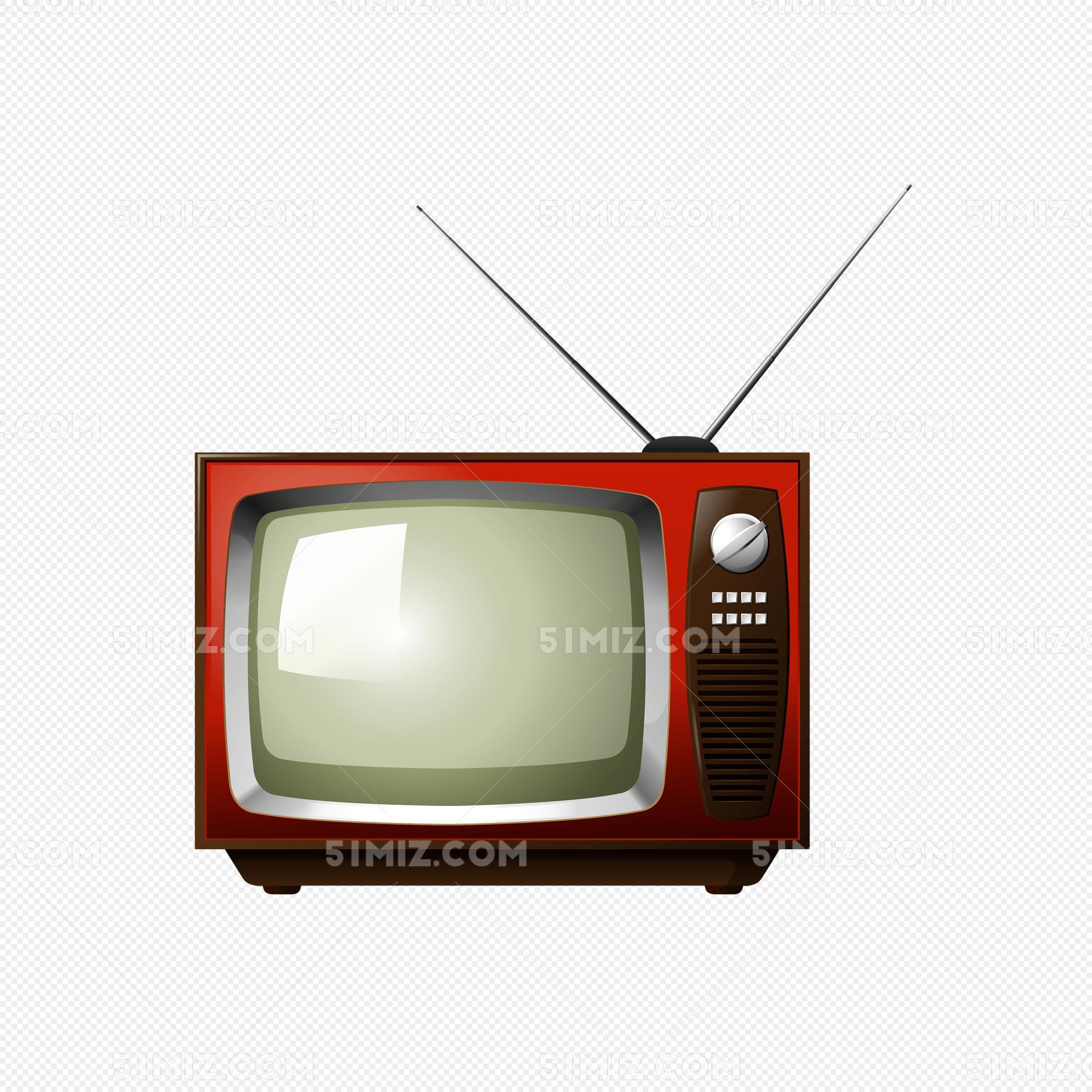 卡通红色电视机矢量素材