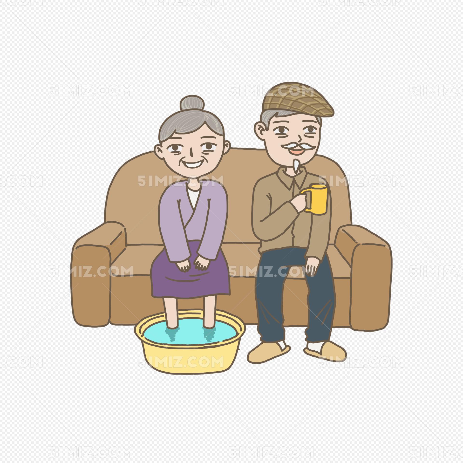 重阳节手绘插画给老人泡脚递茶免图片