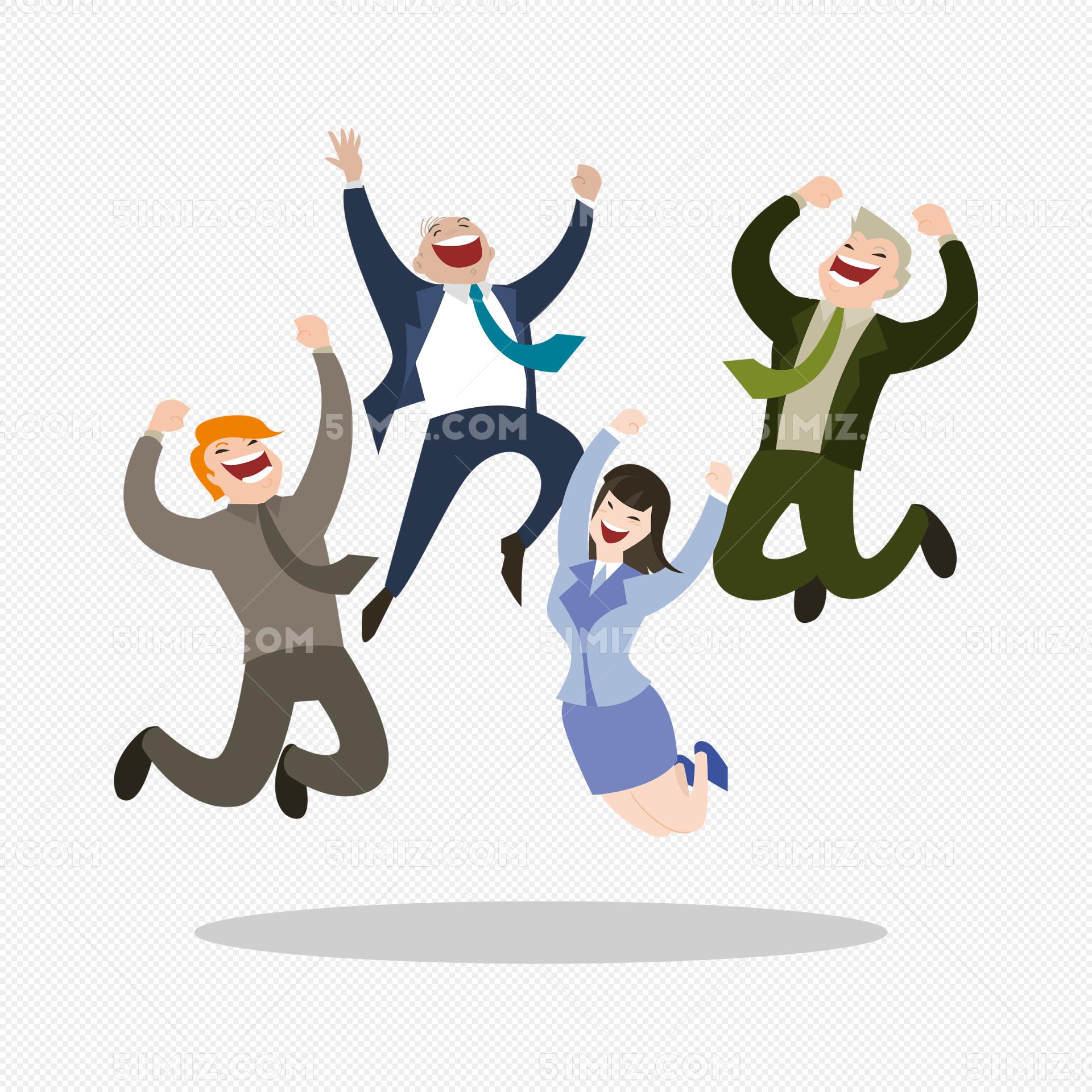 跳跃欢呼的商务人物矢量素材 一群人欢呼免费下载