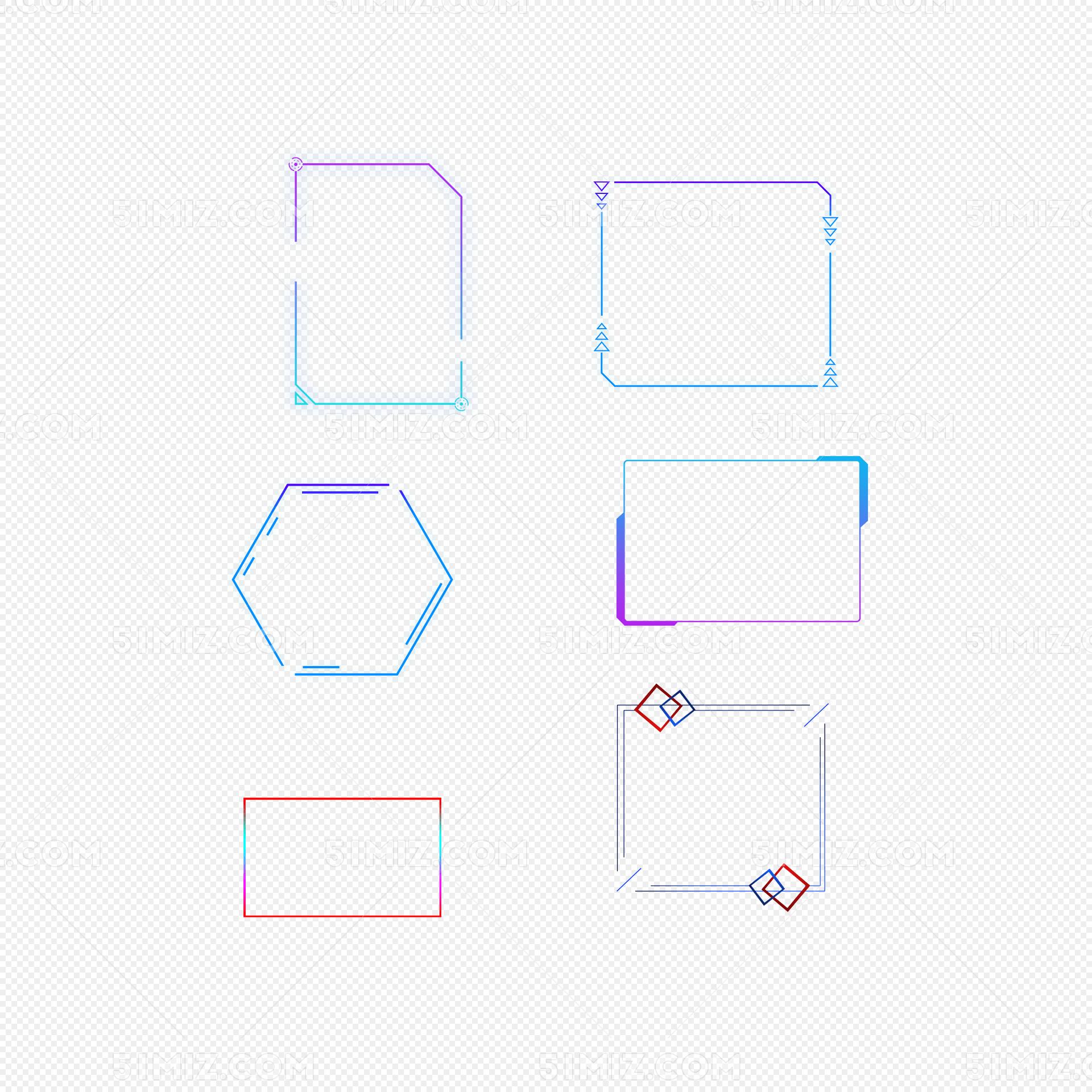 蓝色科技感边框花边纹理素材