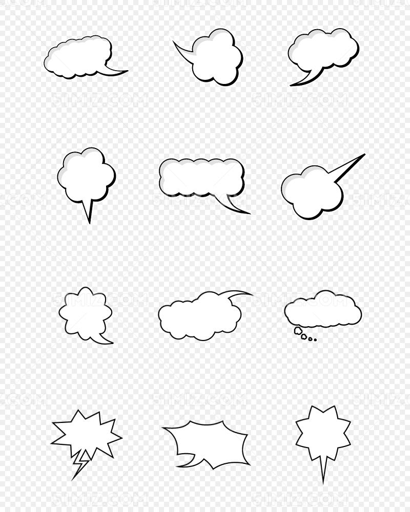 文本边框文字边框黑色卡通云朵气泡对话框矢量图形
