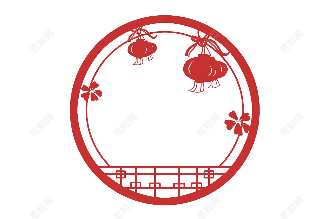 喜庆中国风中式古风红色灯笼圆形边框