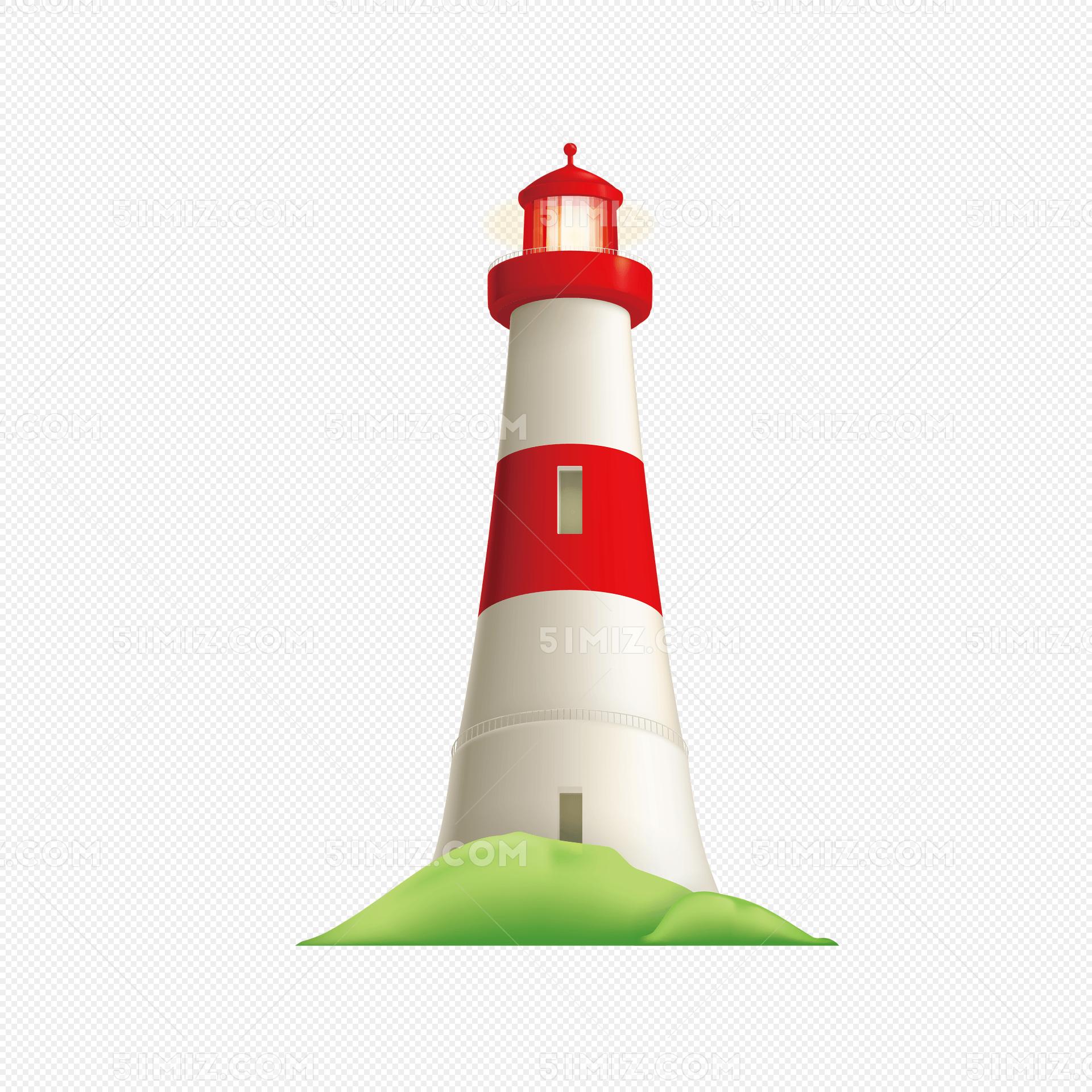 手绘矢量航海工具灯塔png