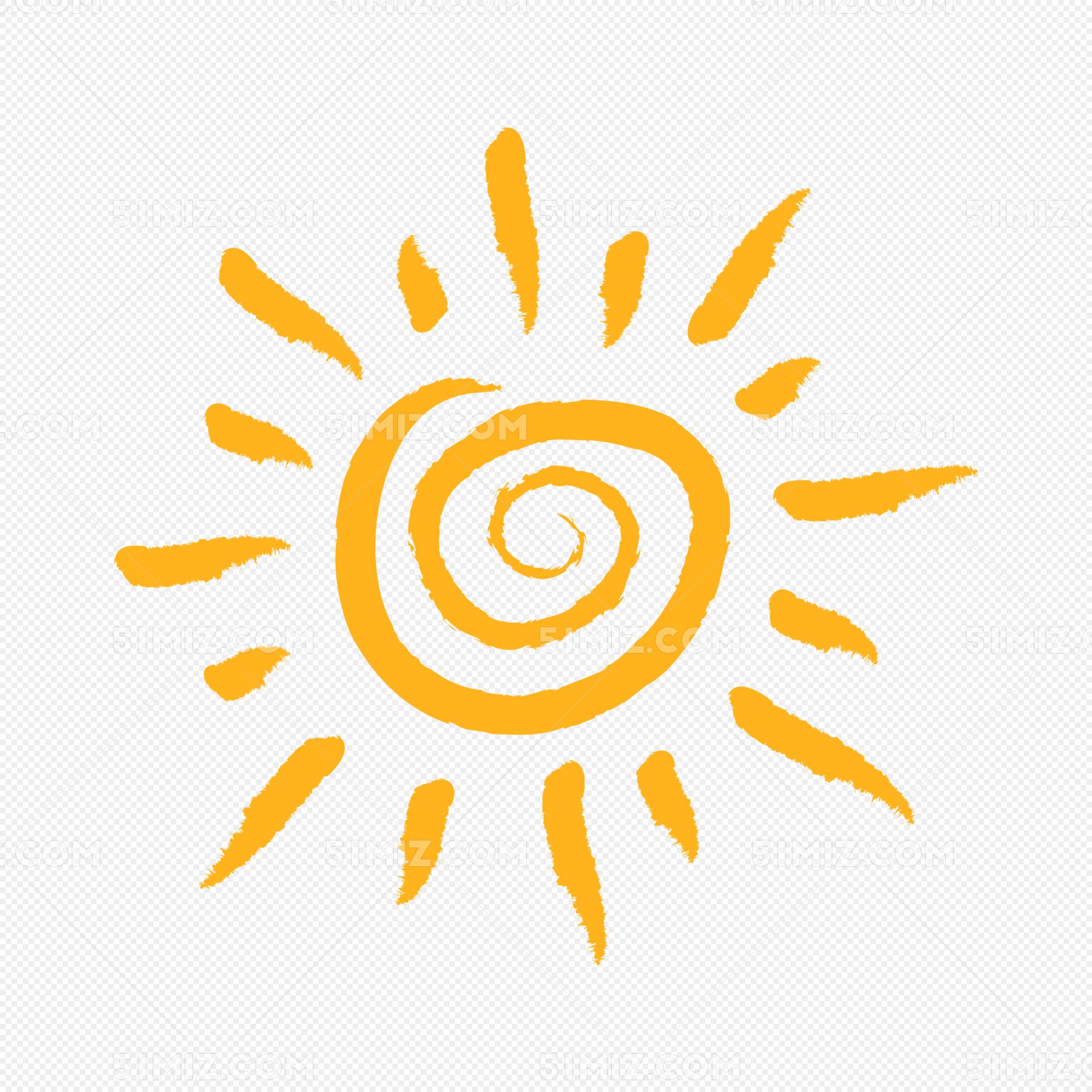 橙色手绘太阳矢量素材手绘简笔画太阳天气晴