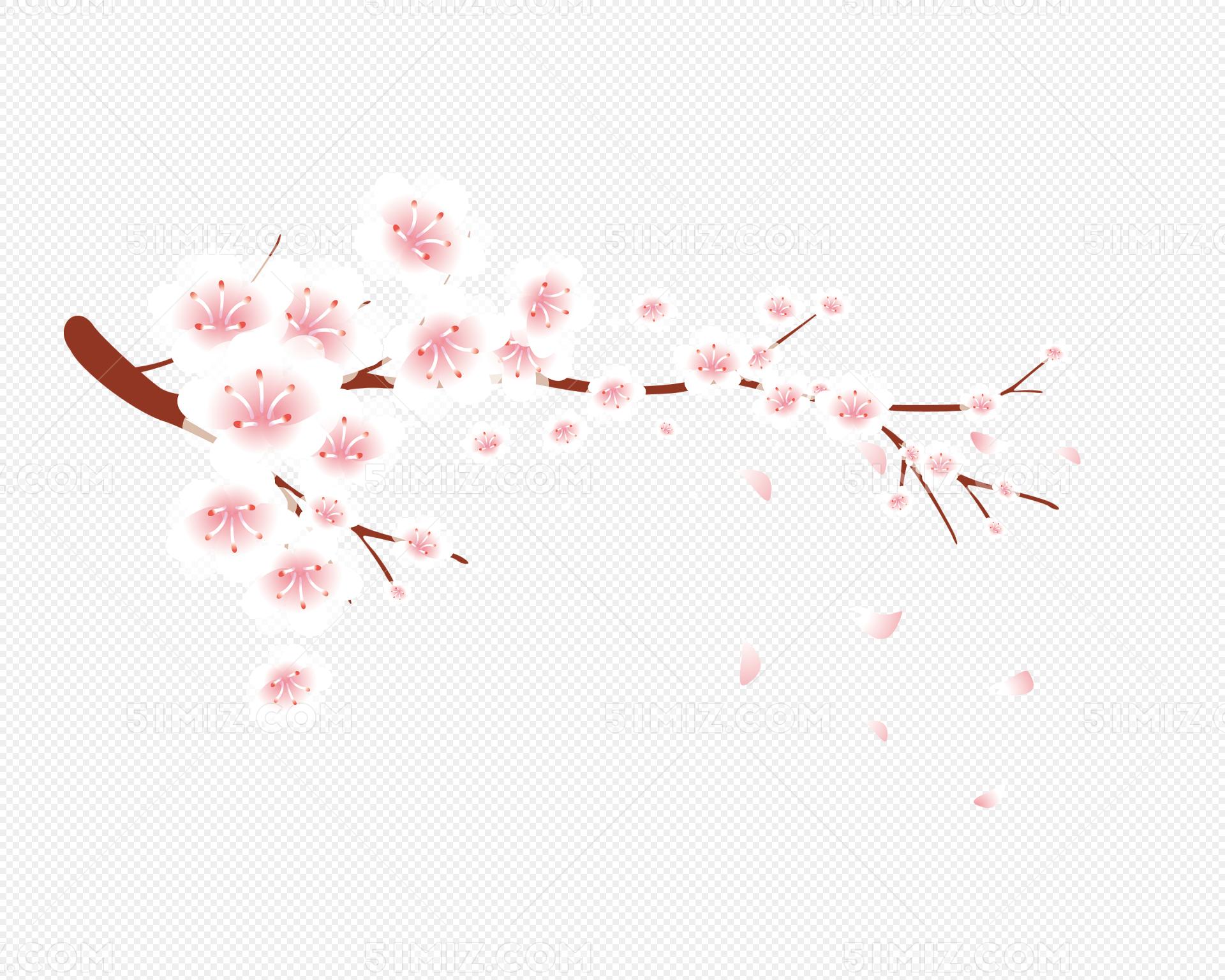 梅花花瓣飘落矢量免费下载_png素材_觅知网