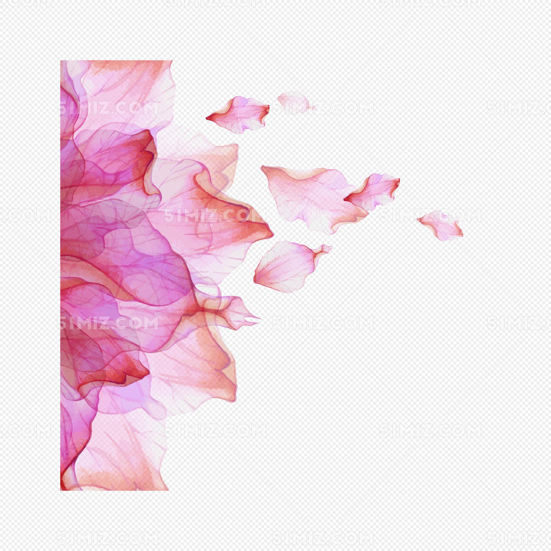 水彩绘动感花瓣背景矢量图免费下载_png素材_觅知网