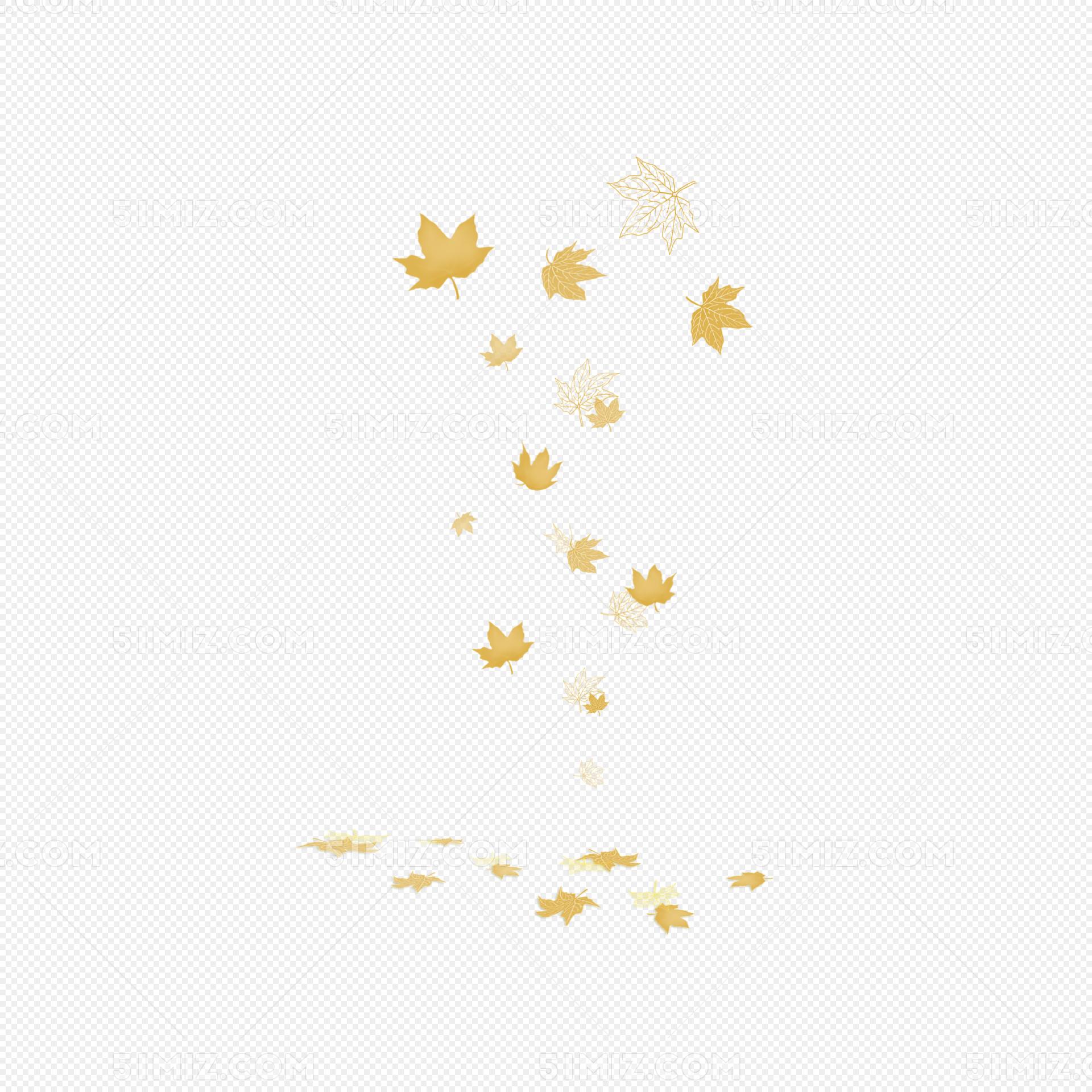 手绘立秋金色枫叶