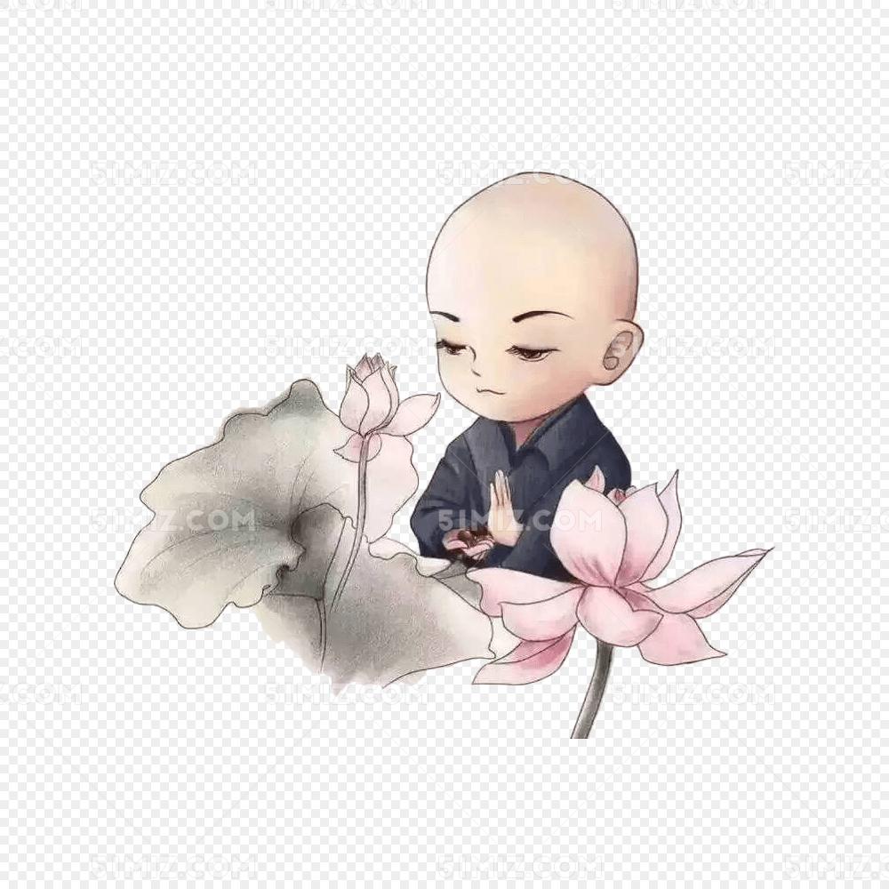 中国风手绘水墨小和尚和莲花