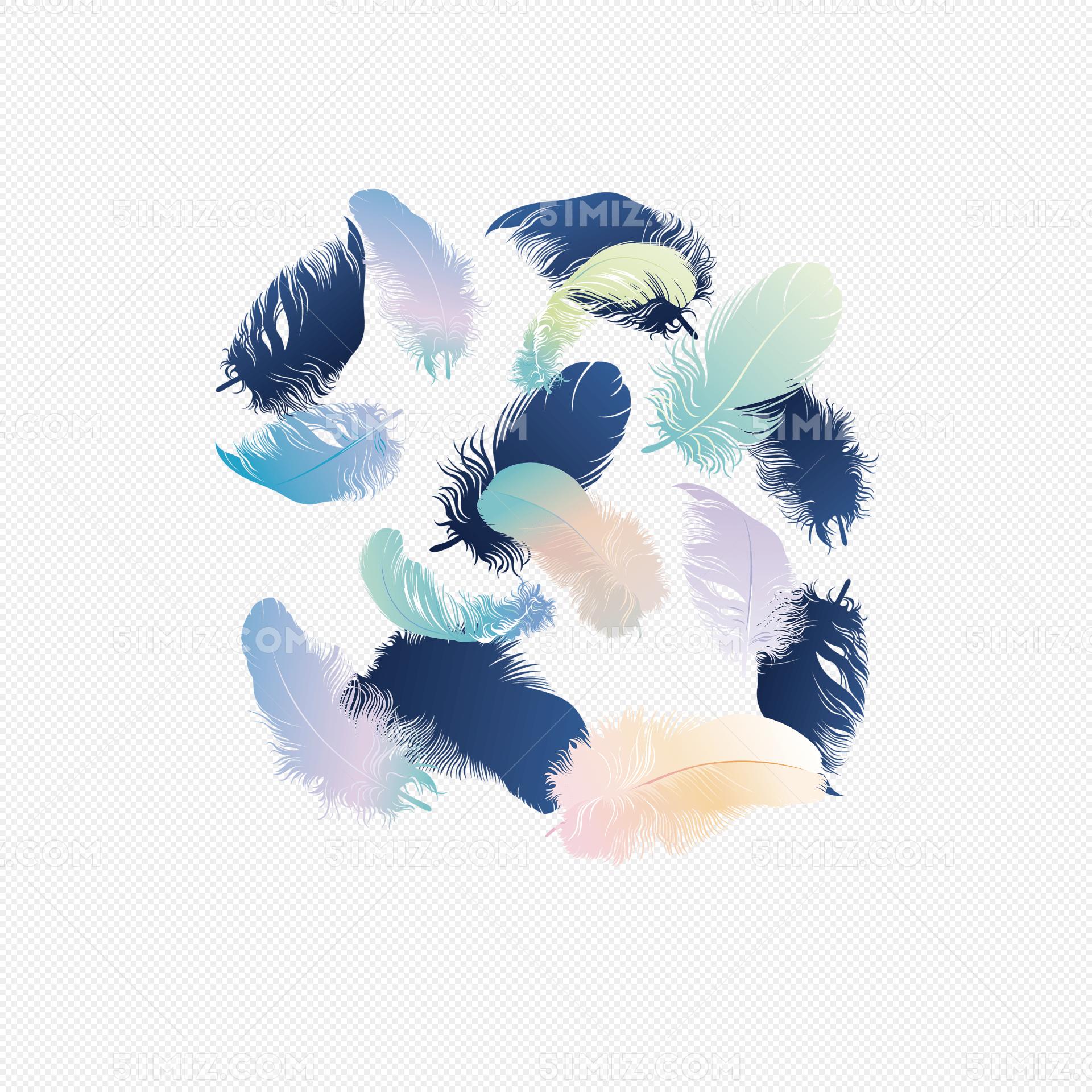 羽毛印花矢量图