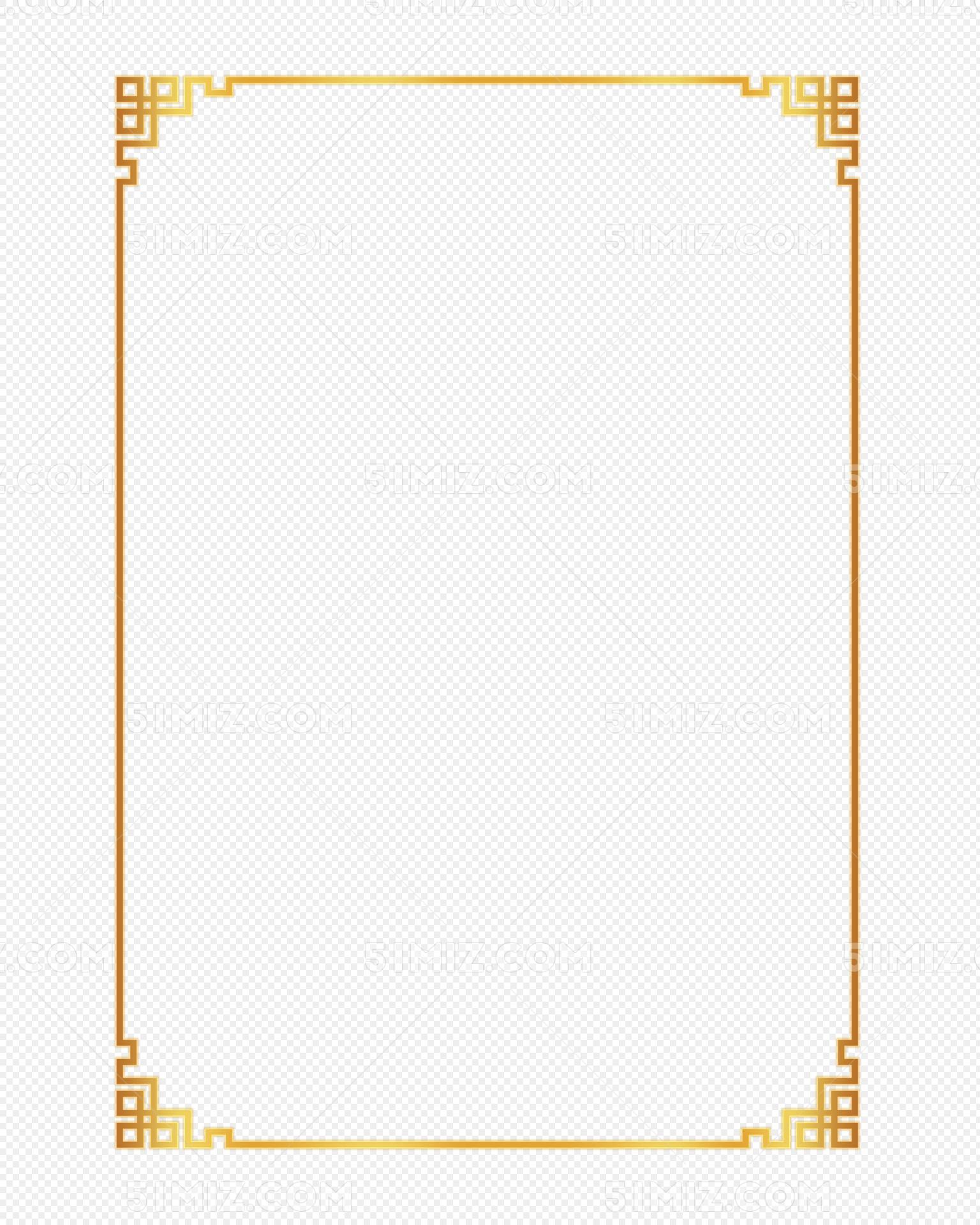 金色中国风花纹边框古画边框部分边