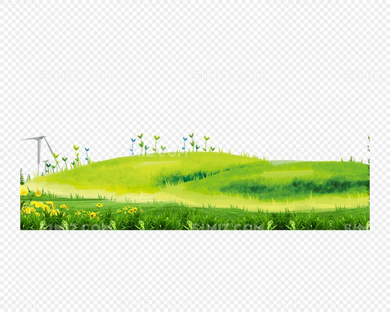 手绘绿色小清新草坪
