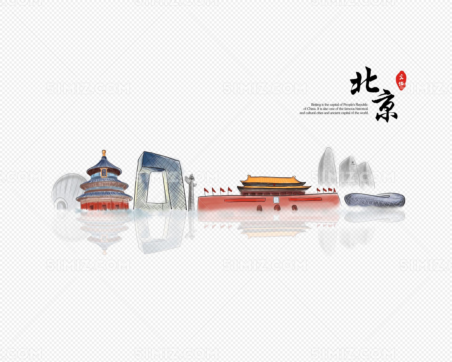 手绘北京地标建筑