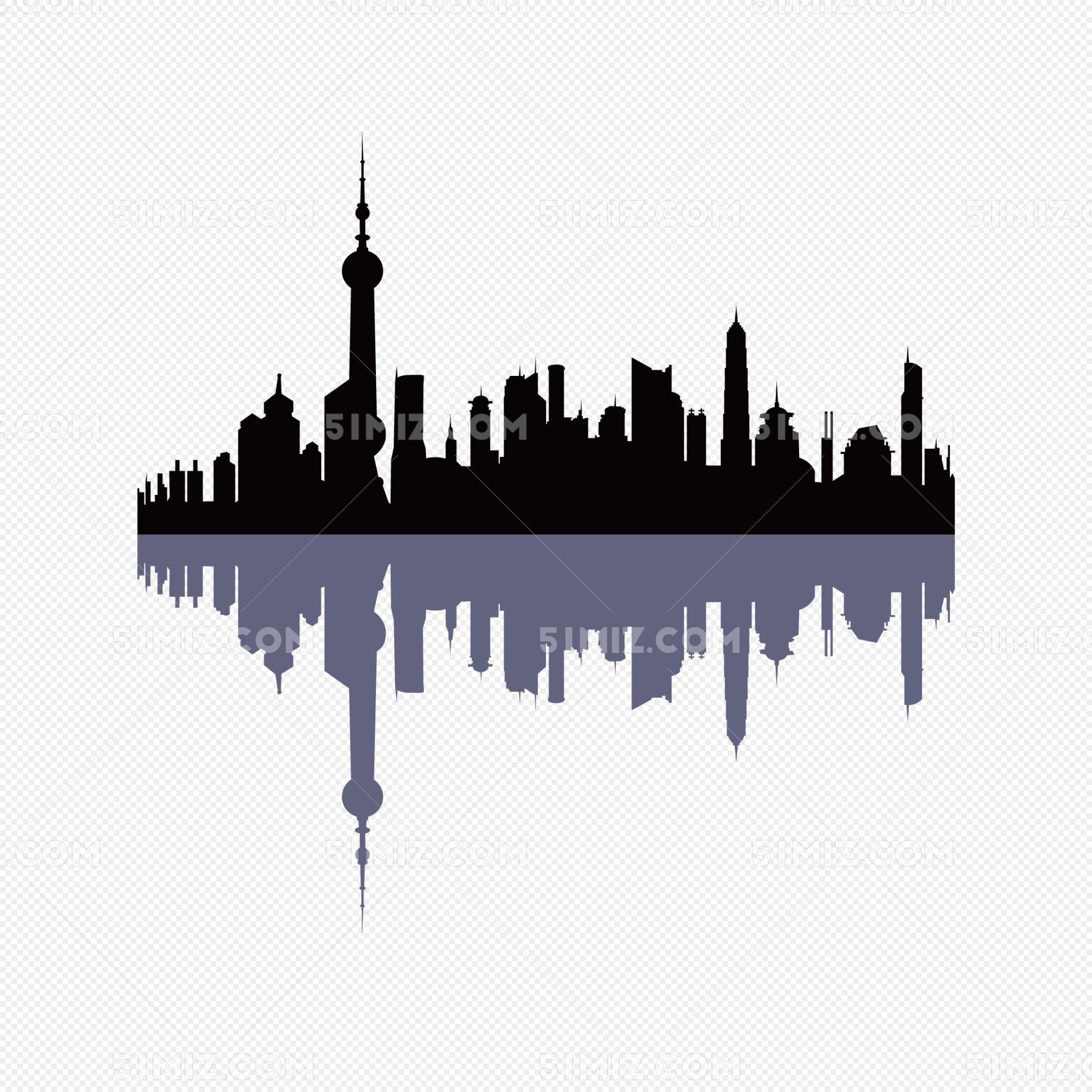 城市剪影上海剪影矢量图