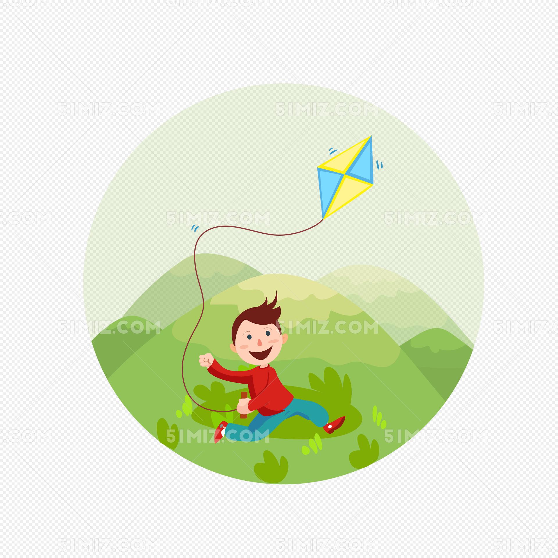 卡通春游郊游清明踏青放风筝小孩