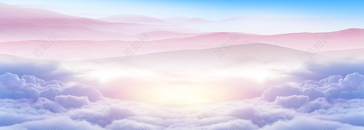 梦幻彩色云朵天空banner背景风景