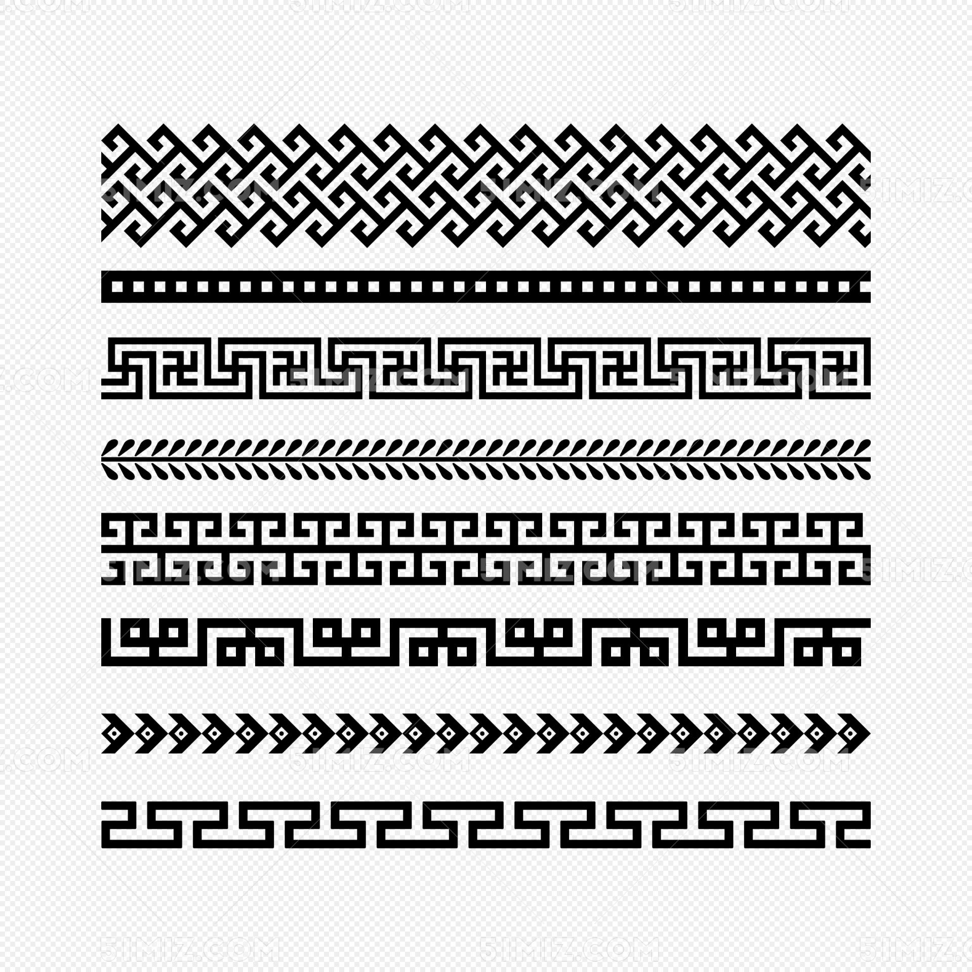 中国风边框花边花纹纹理条纹png素材