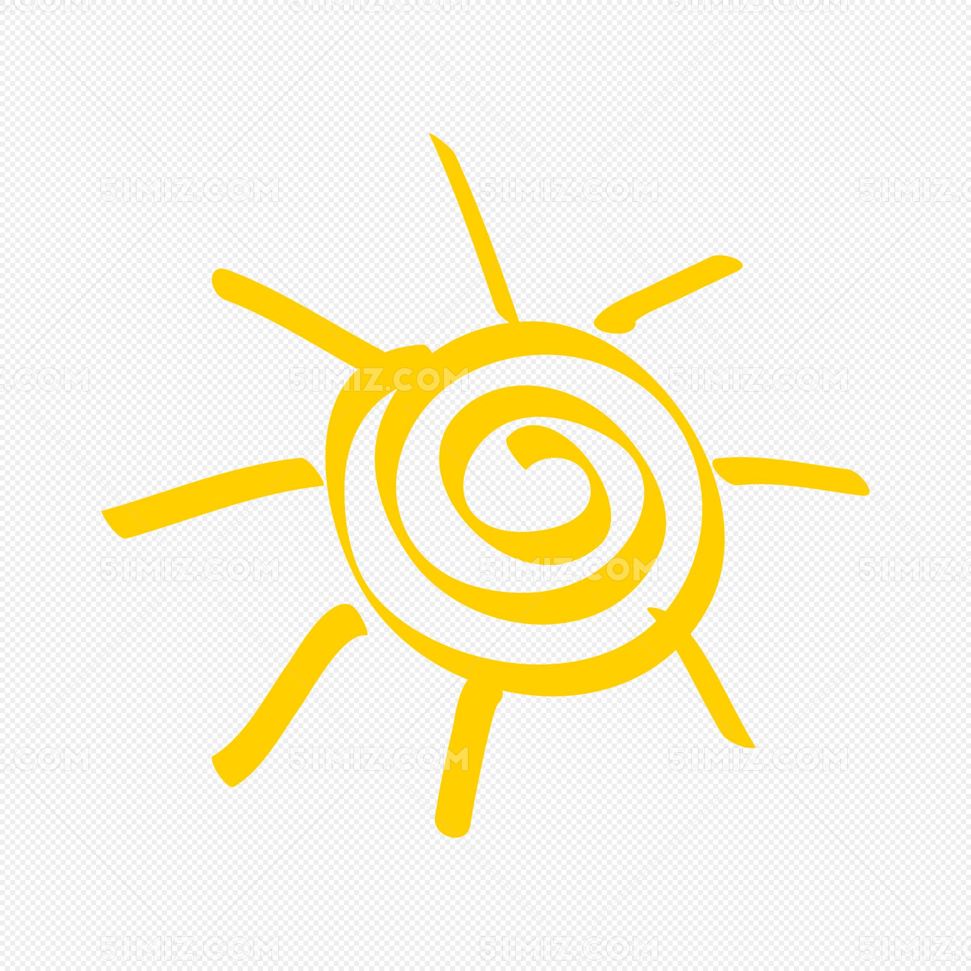 手绘太阳卡通手绘矢量ai线条图片素材免费下载_觅知网