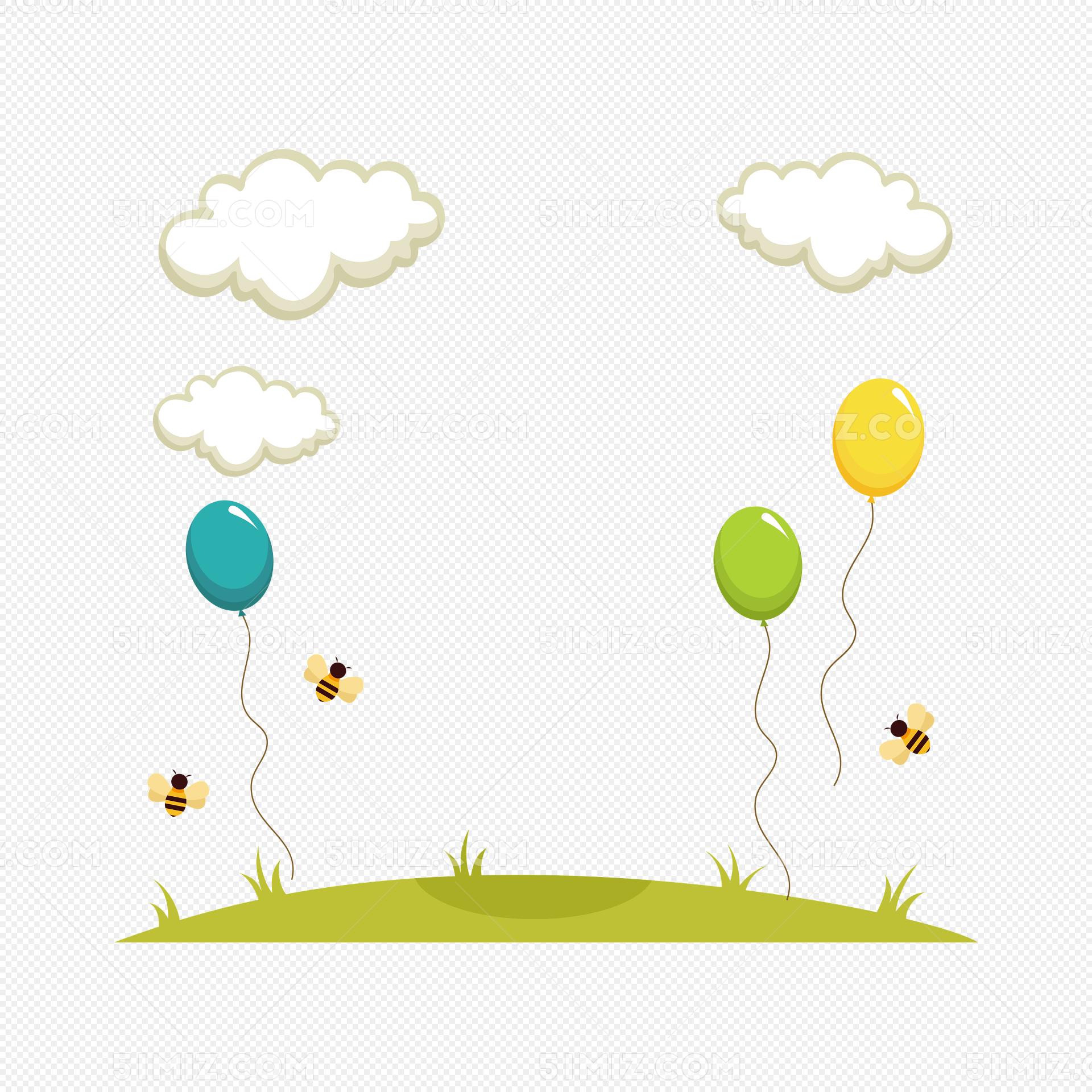 草地气球蜜蜂白云边框矢量图