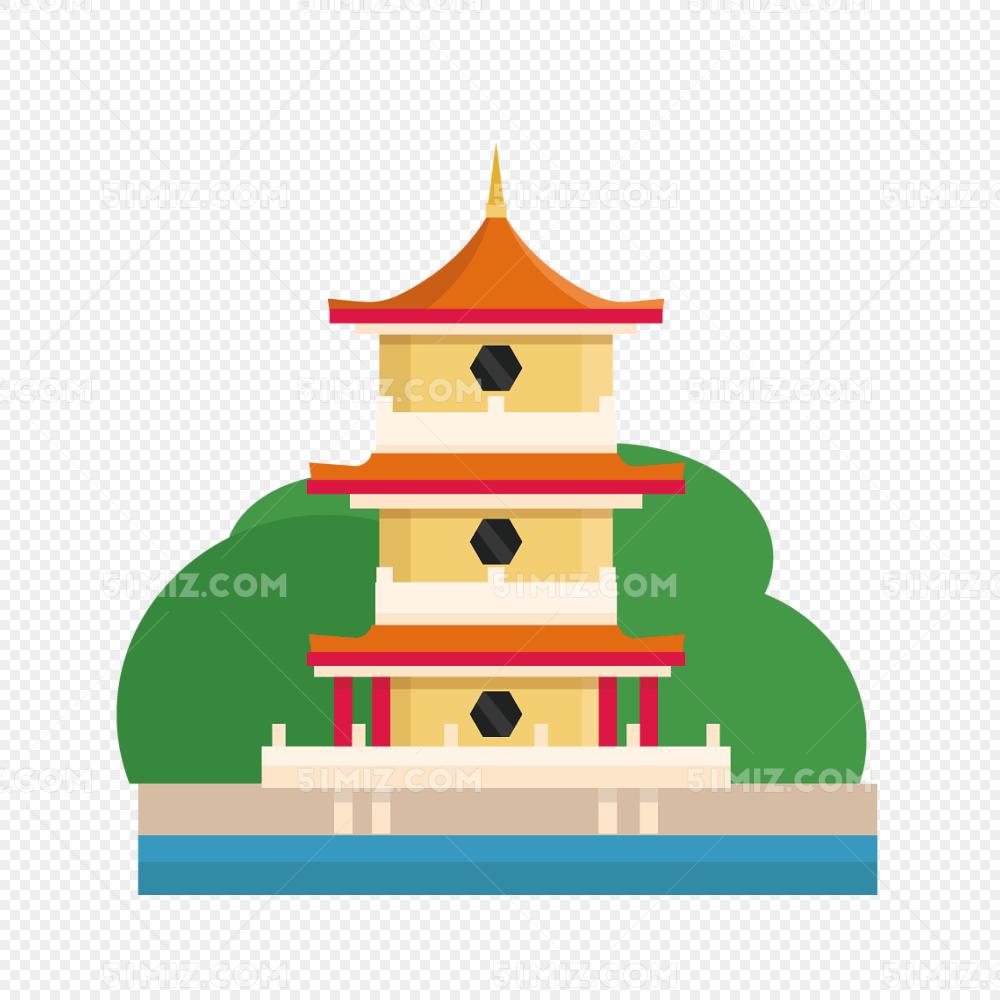 矢量寺庙塔