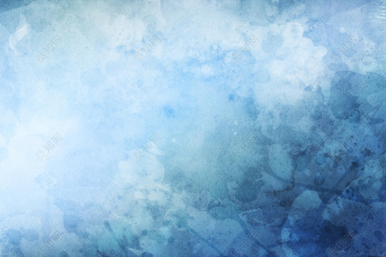 高清唯美清新蓝色渐变渲染水彩纹理展板背景图