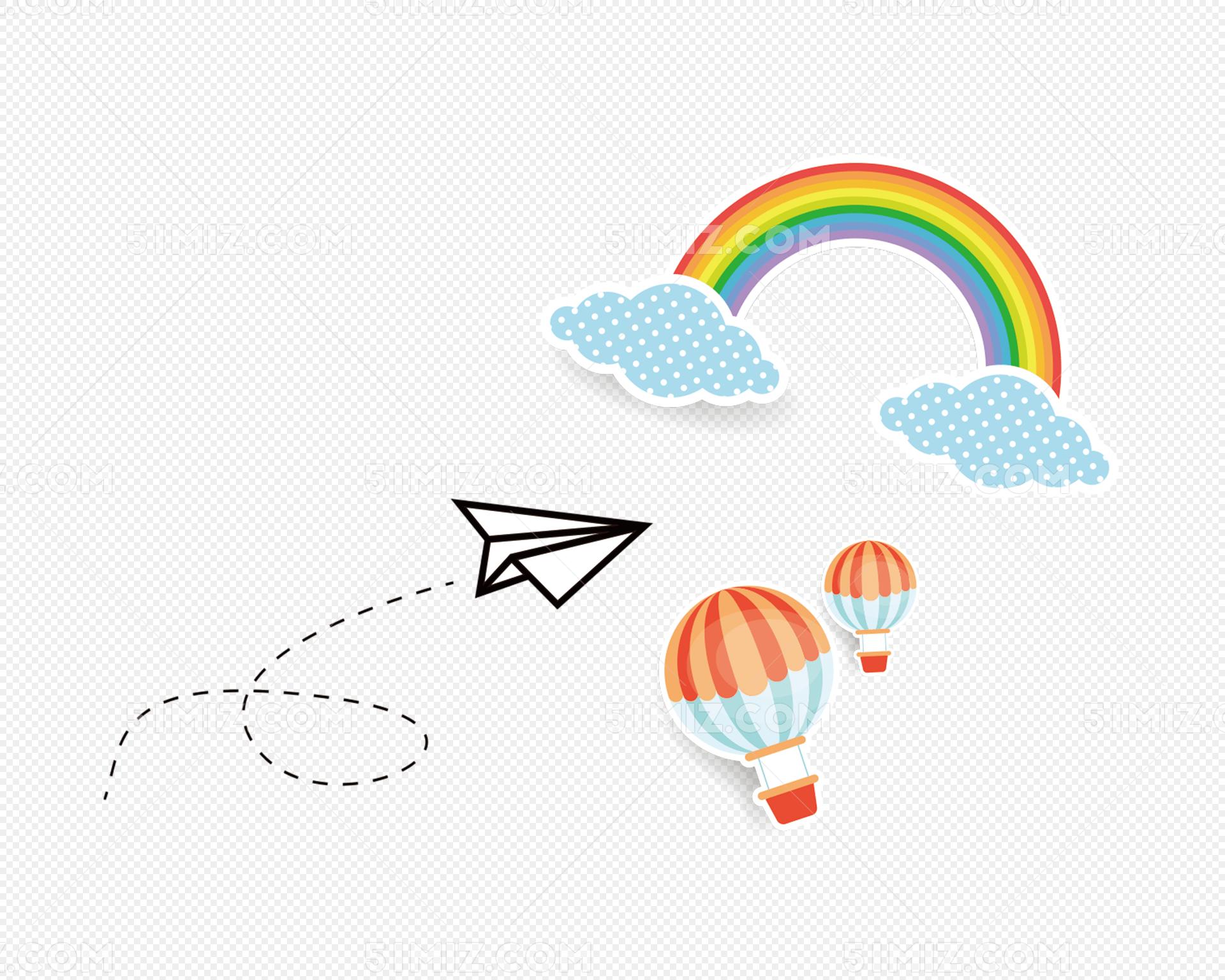 手绘彩虹热气球纸飞机