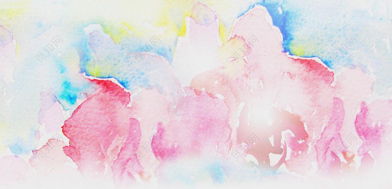 水波彩色水彩油画质感抽象笔刷颜料涂鸦展板海报背景