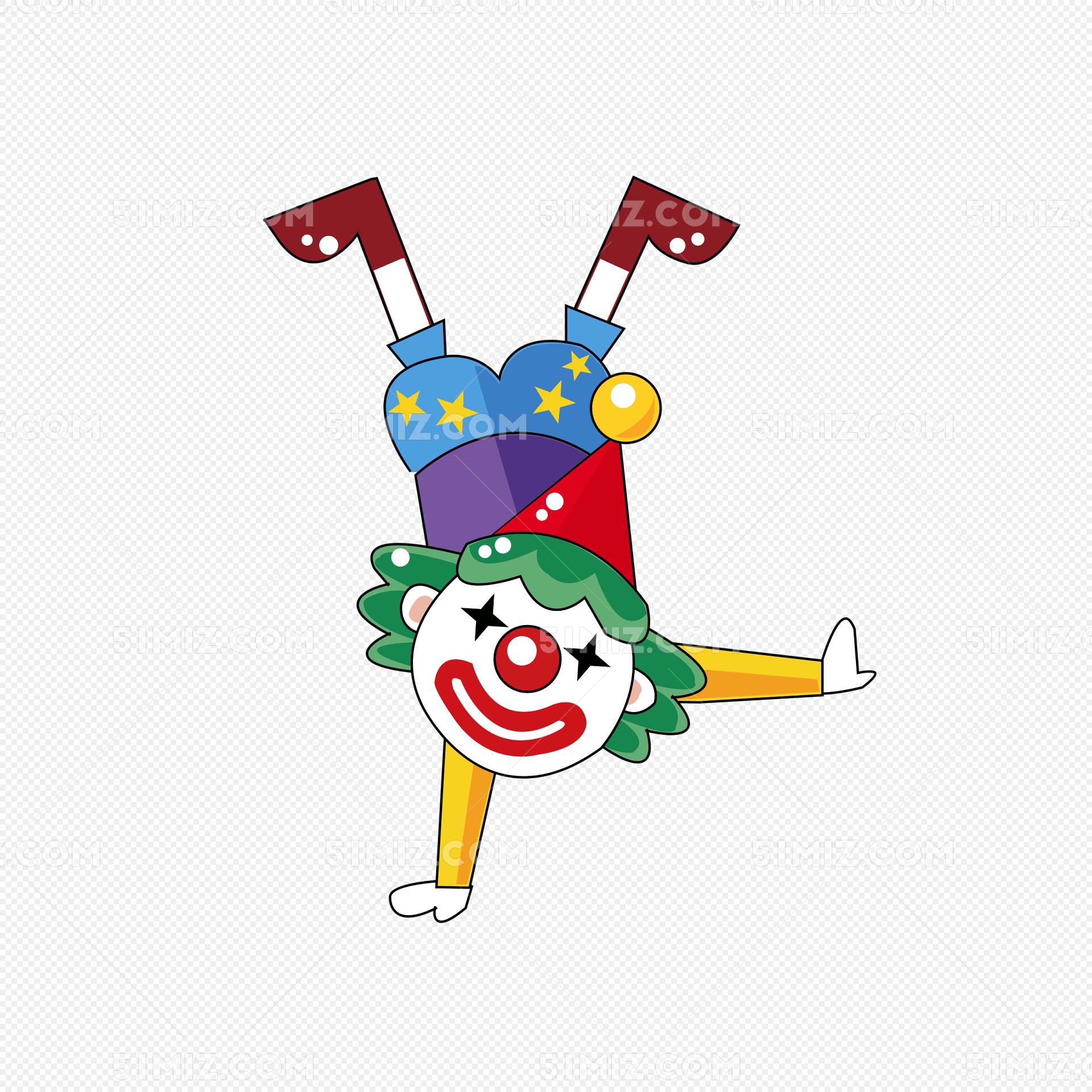 马戏团小丑单手倒立卡通插画png图片