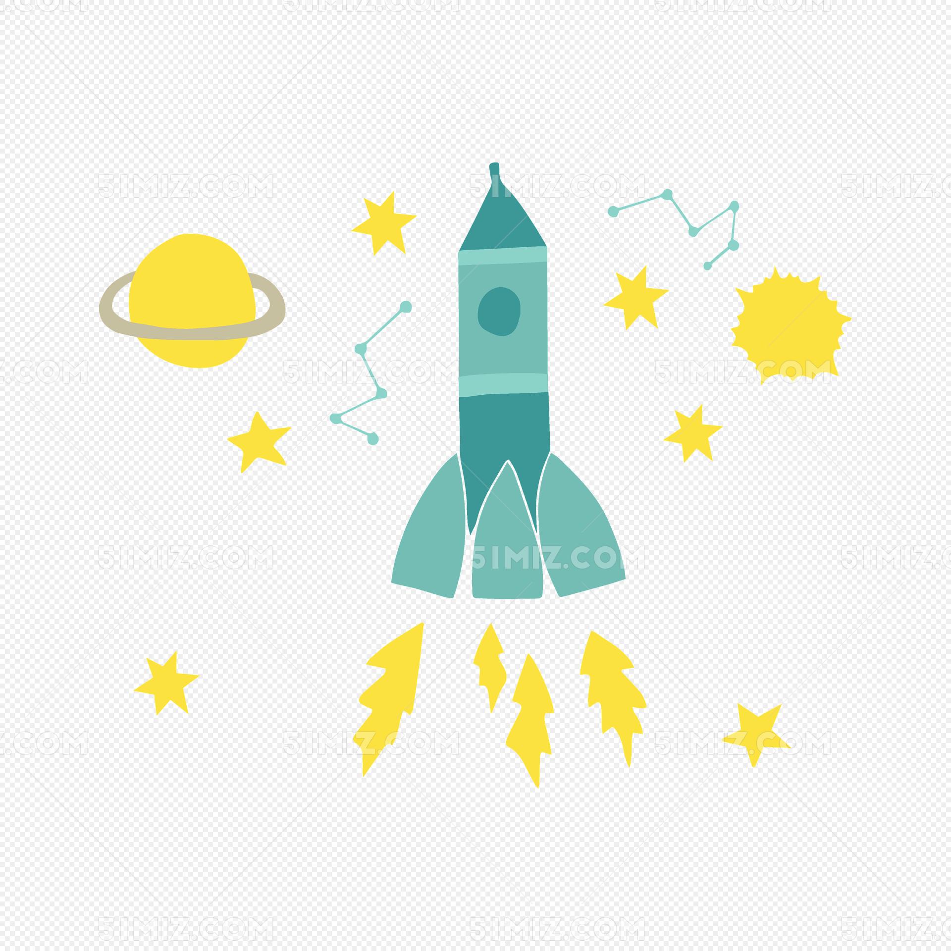 手绘卡通火箭星空矢量素材