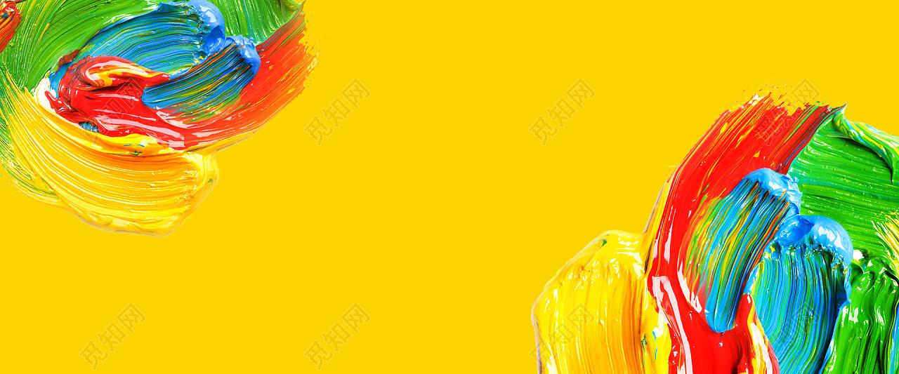 彩色水彩油画质感抽象笔刷颜料涂鸦油漆底纹海报背景图片水彩