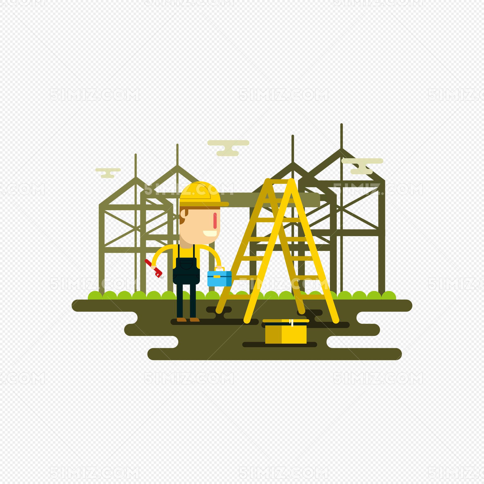 卡通电力工人矢量素材图片
