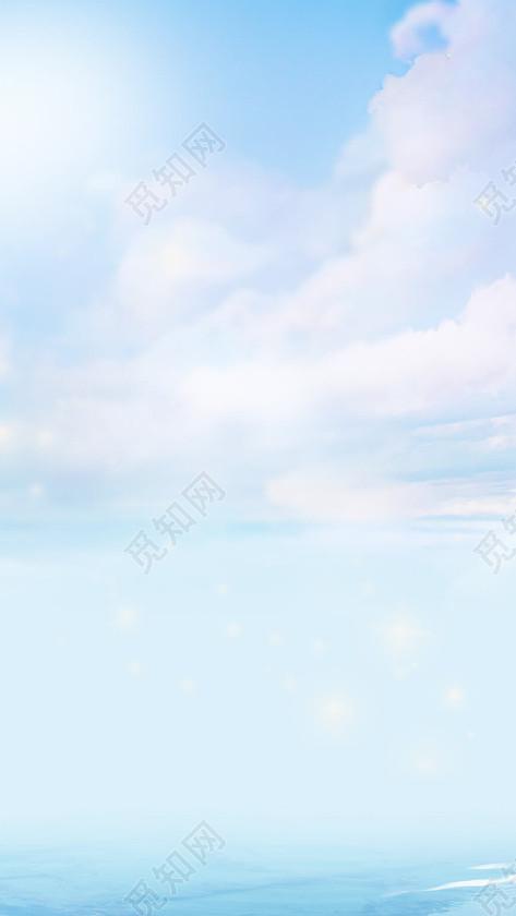 卡通手绘水彩天空蓝天白云海报展板h5背景免费下载