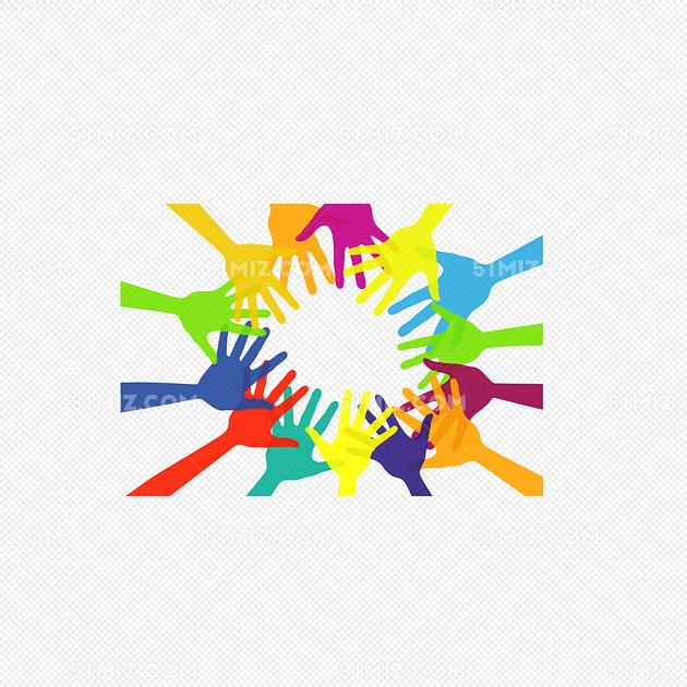 团结握手矢量图图片
