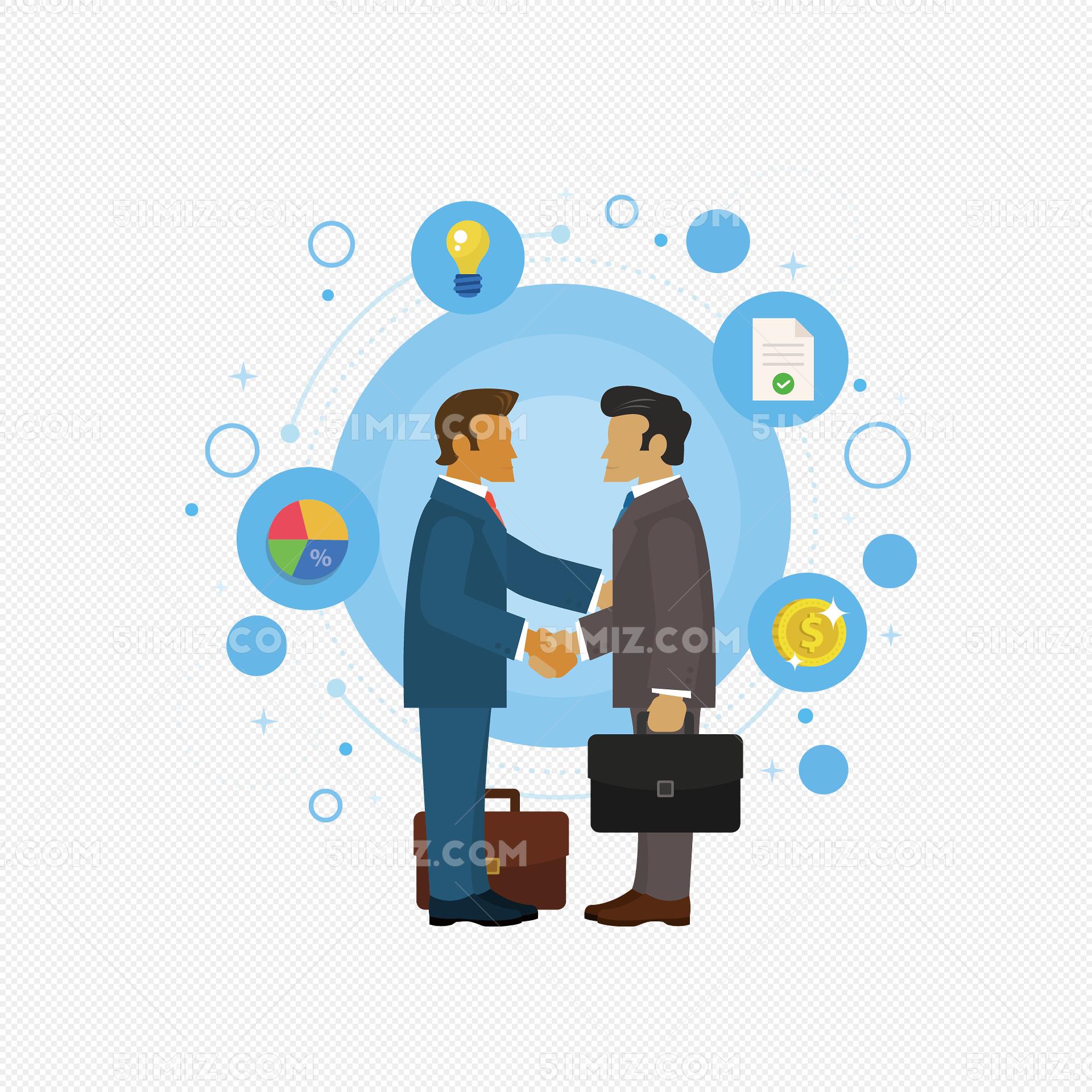 矢量手绘握手的两个人图片
