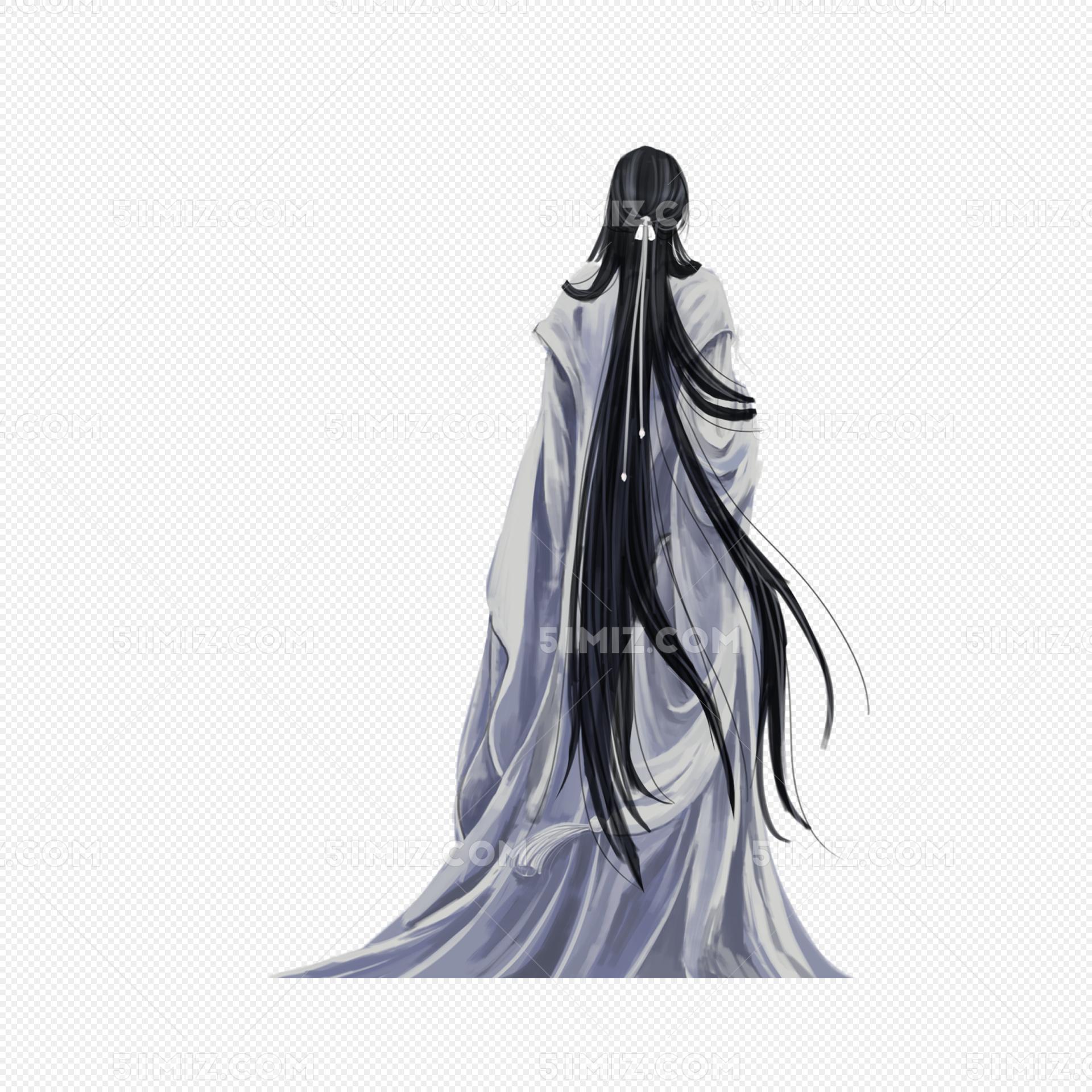 白衣女子撑伞古风图_古风白衣男子背影手绘PNG图片素材免费下载_觅知网
